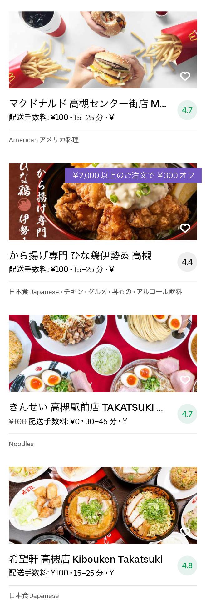 Takatsuki menu 2008 09