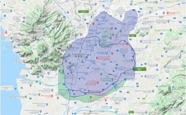Uber Eats(ウーバーイーツ)熊本市エリア・配達マップ
