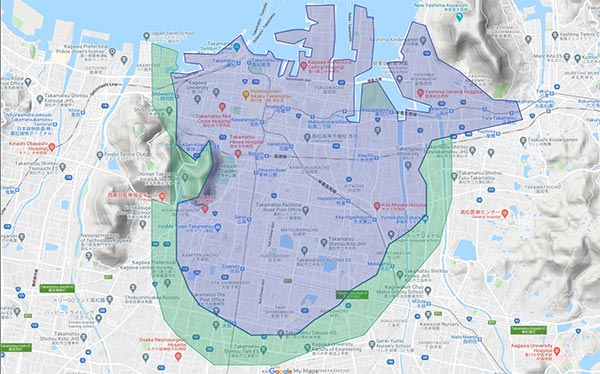 Uber Eats(ウーバーイーツ)高松エリアマップ