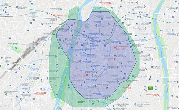 Uber Eats(ウーバーイーツ)富山エリアマップ
