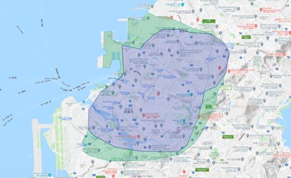 Uber Eats(ウーバーイーツ)那覇エリアマップ