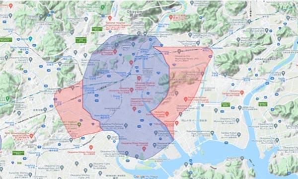 Uber Eats(ウーバーイーツ)岡山エリア・最新マップ