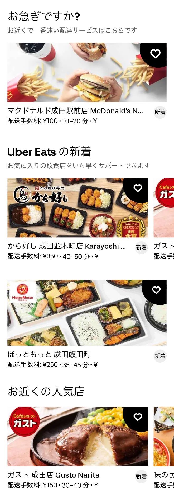 Narita menu 2011 1