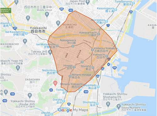 Uber Eats(ウーバーイーツ)四日市市エリア・配達マップ