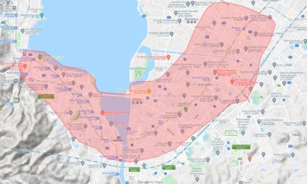 Uber Eats(ウーバーイーツ)大津市・草津市エリア・配達マップ